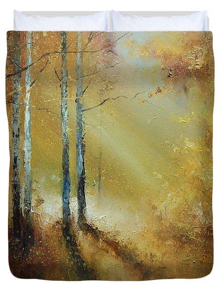 Golden Light In Autumn Woods Duvet Cover