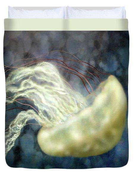 Golden Light Jellyfish Duvet Cover