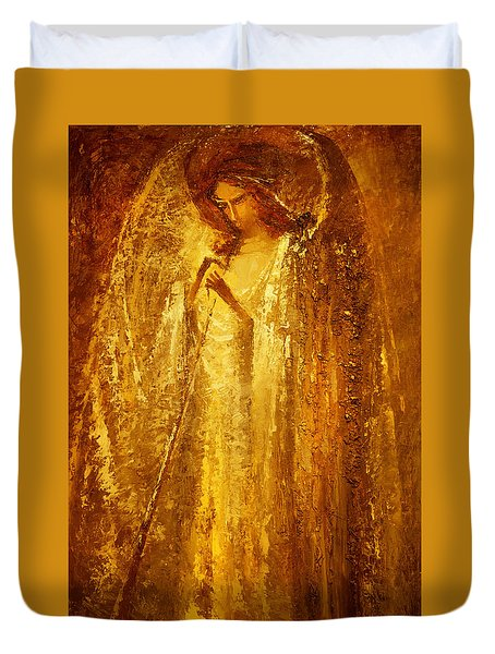 Golden Light Of Angel Duvet Cover