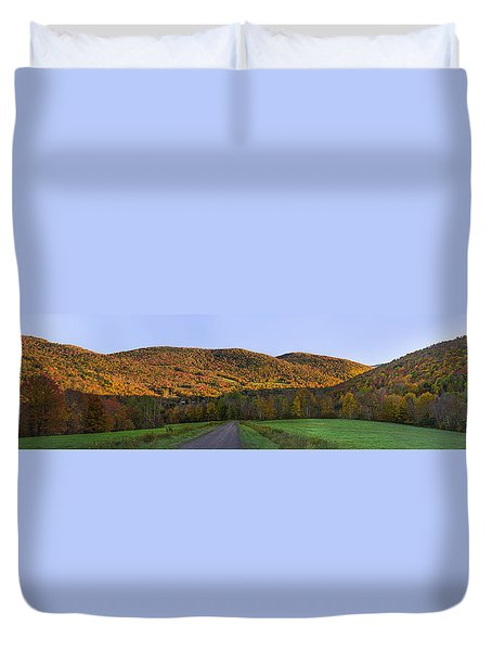 Duvet Cover featuring the photograph Golden Light On The Catskills by Mark Papke