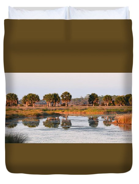 Golden Light On The St. Marks Marshes Duvet Cover