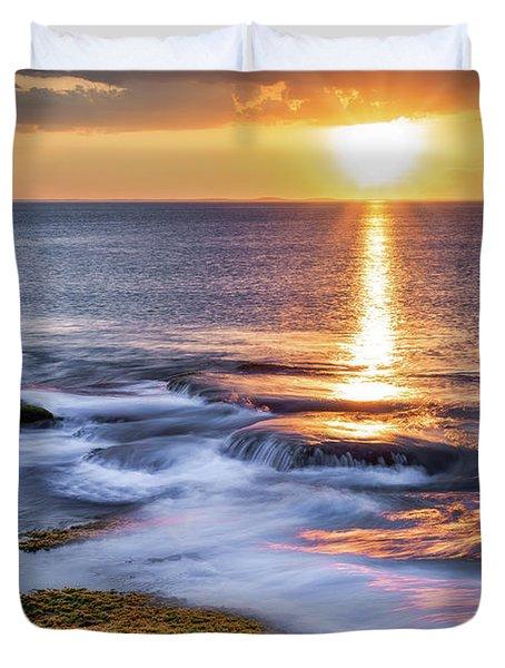 Golden Light Sunset, Rockport  Ma. Duvet Cover