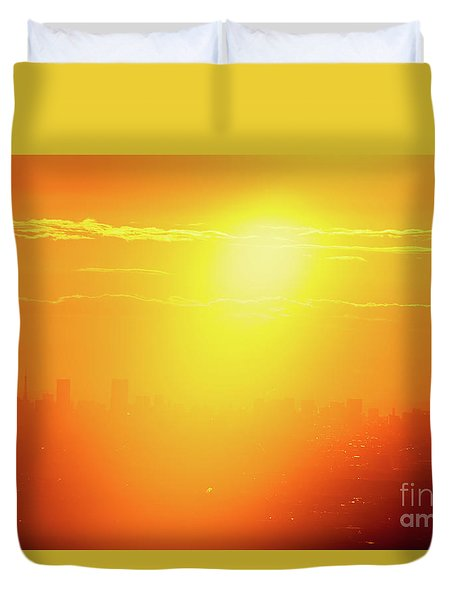 Duvet Cover featuring the photograph Golden Light by Tatsuya Atarashi