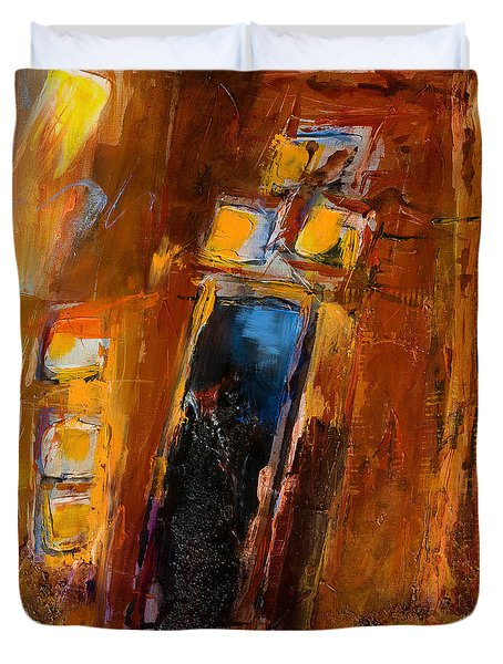 Duvet Cover featuring the painting Golden Lights by Elise Palmigiani
