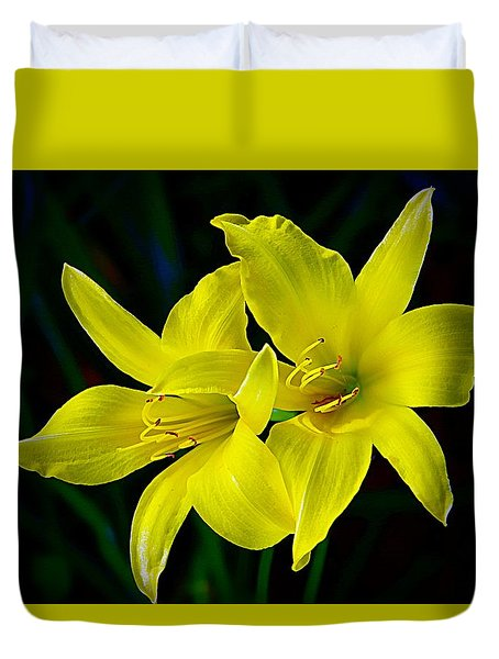 Golden Lilies Duvet Cover
