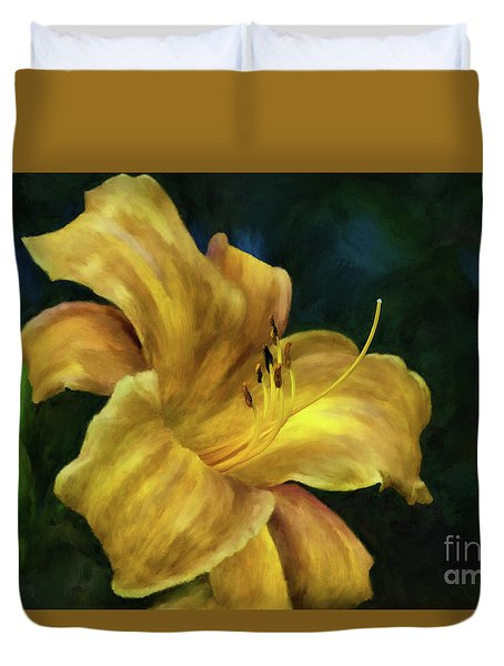 Duvet Cover featuring the digital art Golden Lily by Lois Bryan