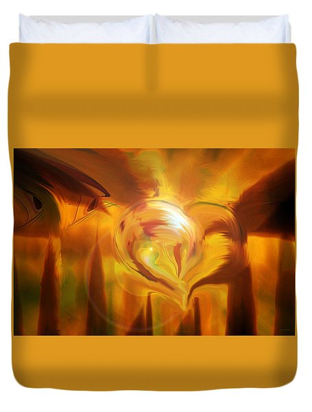 Duvet Cover featuring the digital art Golden Love by Linda Sannuti