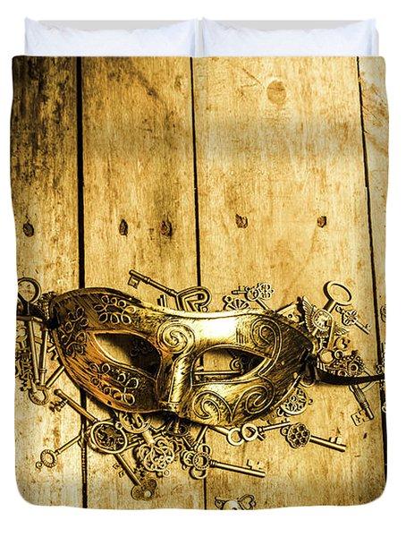 Golden Masquerade Mask With Keys Duvet Cover