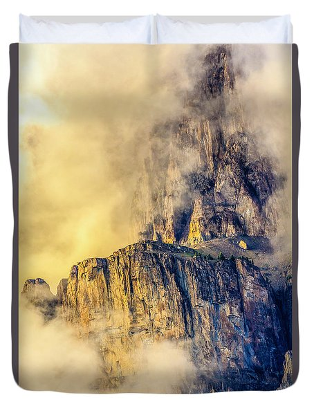 Golden Mist On Cathedral Mountain Duvet Cover