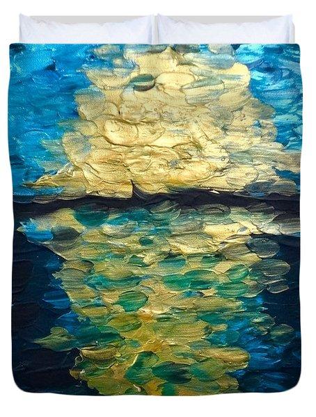 Golden Moon Reflection Duvet Cover
