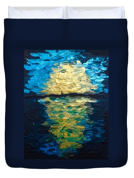 Golden Moon Reflection Duvet Cover