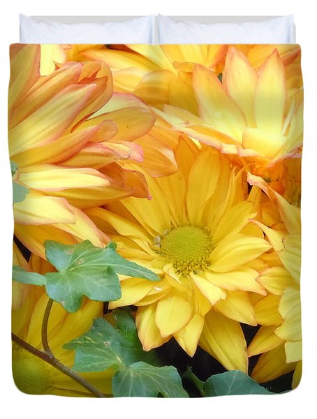 Golden Mums And Ivy Duvet Cover