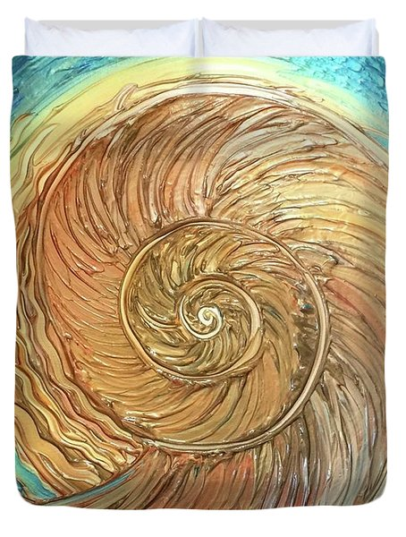 Golden Nautilus Duvet Cover