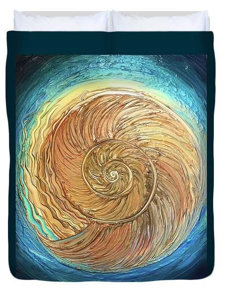 Golden Nautilus Duvet Cover