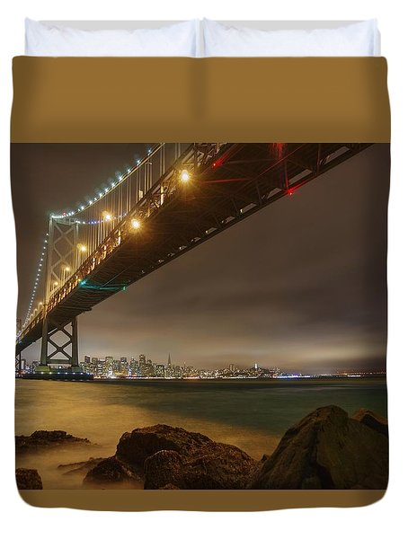 Golden Night Over The City Duvet Cover