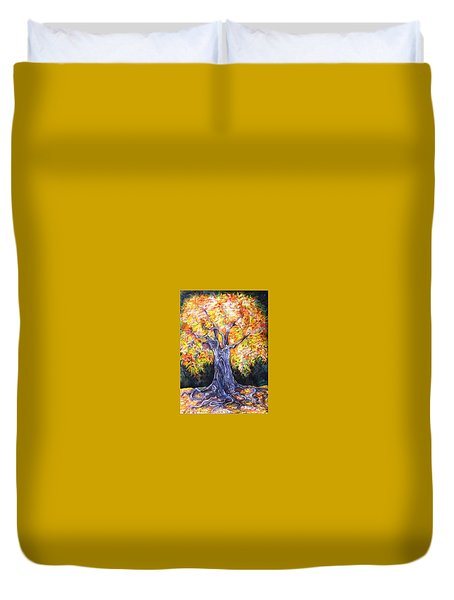 Duvet Cover featuring the drawing Golden Oak by Anna  Duyunova
