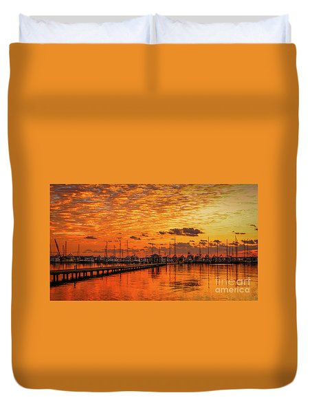 Golden Orange Sunrise Duvet Cover