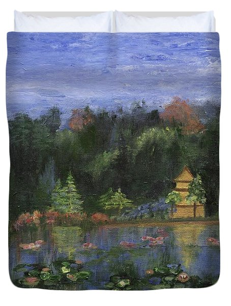 Duvet Cover featuring the painting Golden Pagoda by Jamie Frier