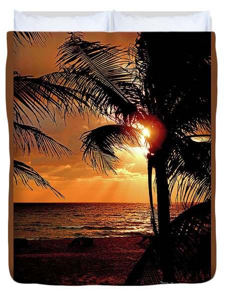 Golden Palm Sunrise Duvet Cover