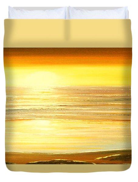 Golden Panoramic Sunset Duvet Cover by Gina De Gorna