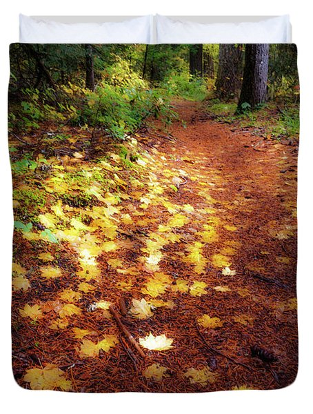 Duvet Cover featuring the photograph Golden Path by Cat Connor