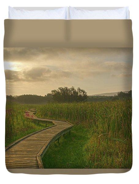 Golden Pathway To A Foggy Sun Duvet Cover