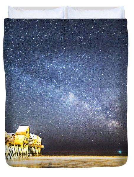 Golden Pier Under The Milky Way Version 1.0 Duvet Cover by Patrick Fennell