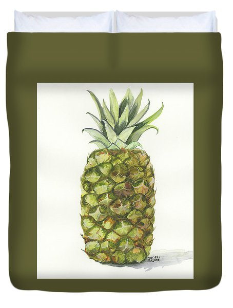 Duvet Cover featuring the painting Golden Pineapple by Darice Machel McGuire
