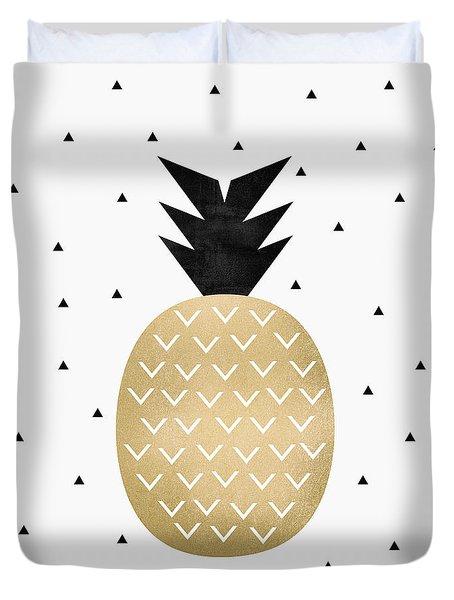 Golden Pineapple Duvet Cover