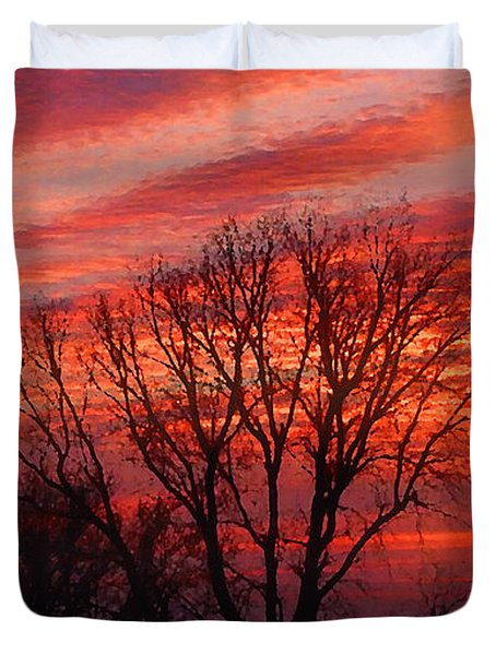 Golden Pink Sunset With Trees Duvet Cover