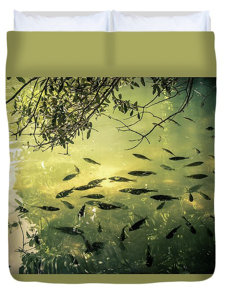Golden Pond With Fish Duvet Cover