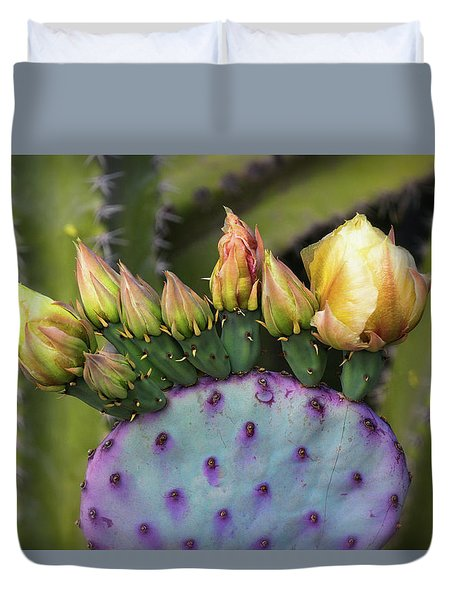 Duvet Cover featuring the photograph Golden Prickly Pear Buds  by Saija Lehtonen