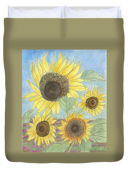 Duvet Cover featuring the drawing Golden Quartet by Arlene Crafton