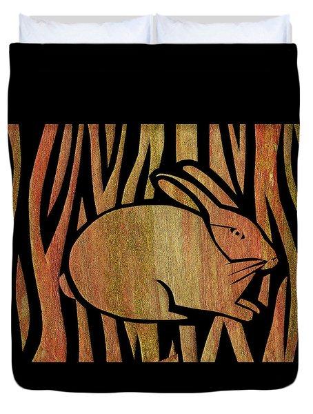 Golden Rabbit Duvet Cover