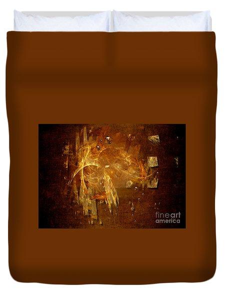 Duvet Cover featuring the digital art Golden Rain by Alexa Szlavics