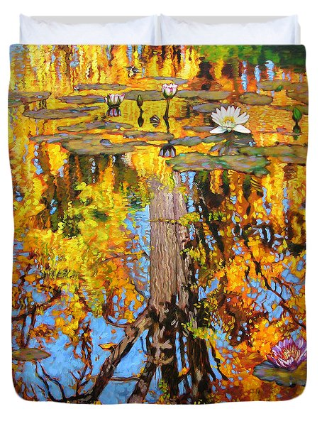 Golden Reflections On Lily Pond Duvet Cover by John Lautermilch