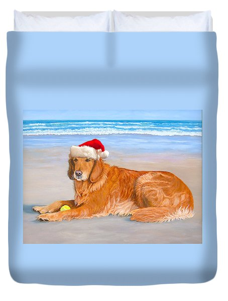 Duvet Cover featuring the painting Golden Retreiver Holiday Card by Karen Zuk Rosenblatt