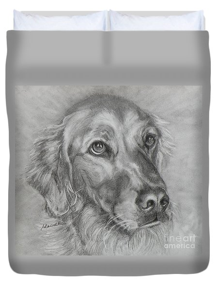 Golden Retriever Drawing Duvet Cover