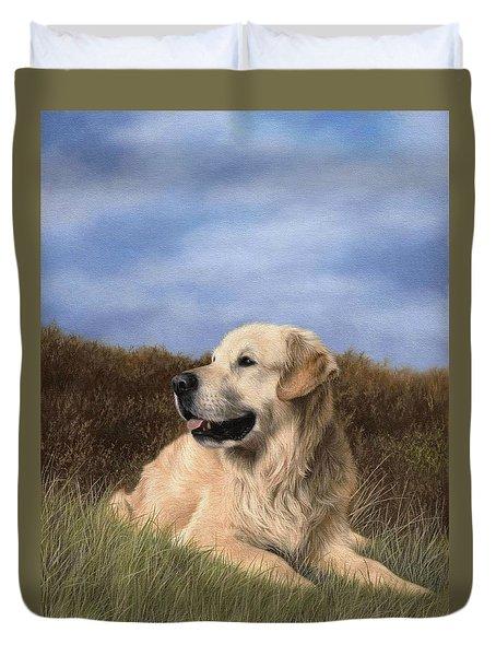Golden Retriever Painting Duvet Cover