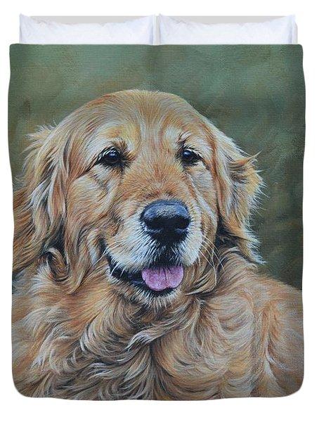 Golden Retriever Portrait Duvet Cover