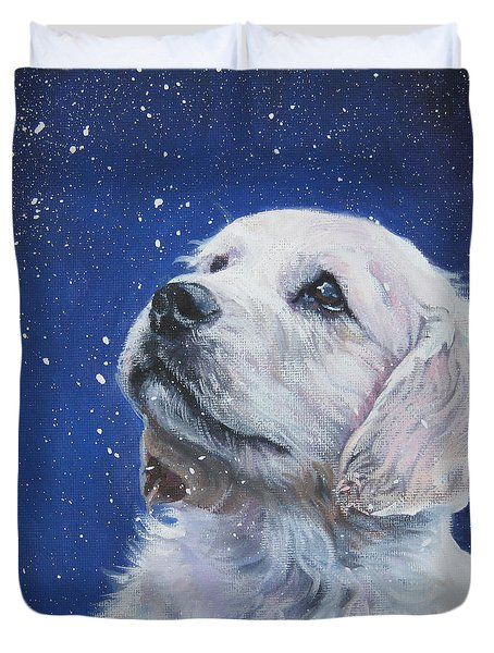 Golden Retriever Pup In Snow Duvet Cover