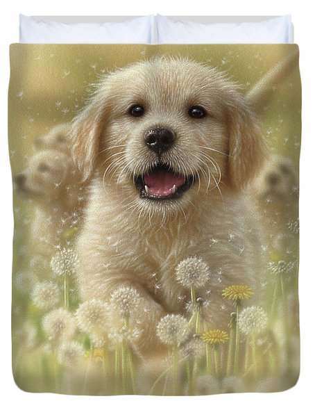 Golden Retriever Puppy - Dandelions Duvet Cover