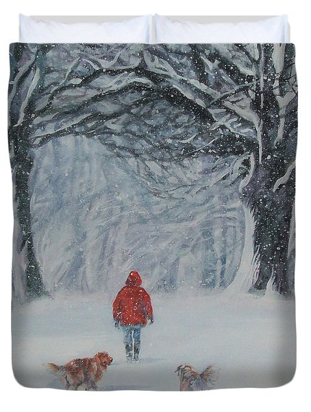 Golden Retriever Winter Walk Duvet Cover