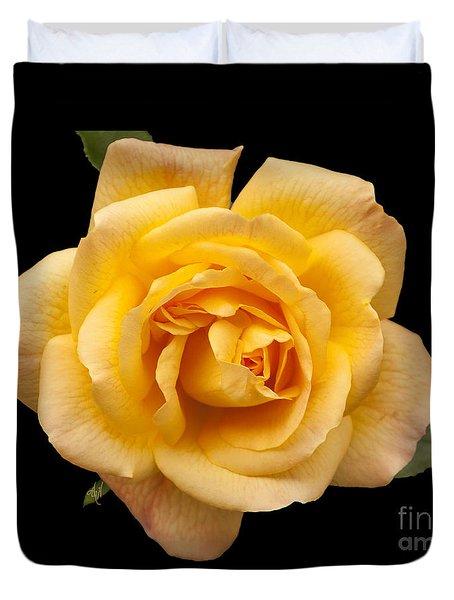 Golden Rose On Black Duvet Cover