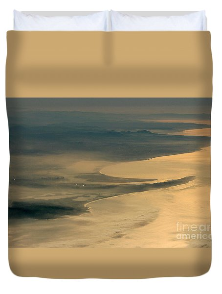Golden San Diego From The Air In The Poetry Of Being High Up In The Air Duvet Cover by Wernher Krutein