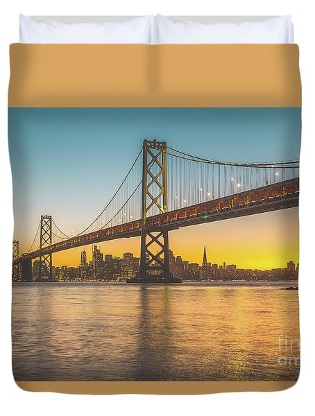 Golden San Francisco Duvet Cover by JR Photography