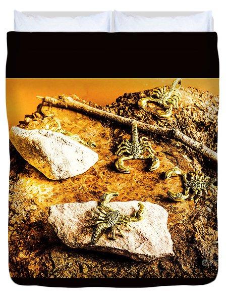 Golden Scorpion Amulets Duvet Cover