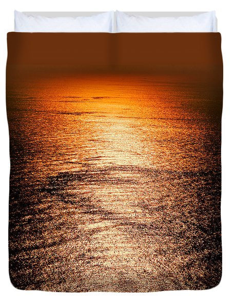 Golden Sea In Alanya Duvet Cover