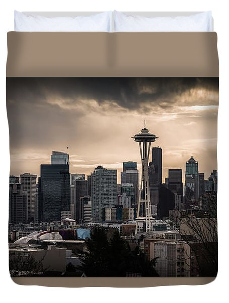 Duvet Cover featuring the photograph Golden Seattle by Chris McKenna