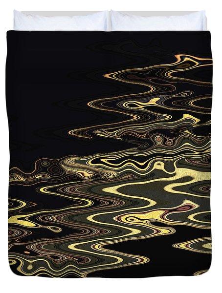 Golden Shimmers On A Dark Sea Duvet Cover